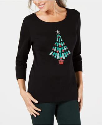 Karen Scott Cotton Embellished Flip-Flop Christmas Top