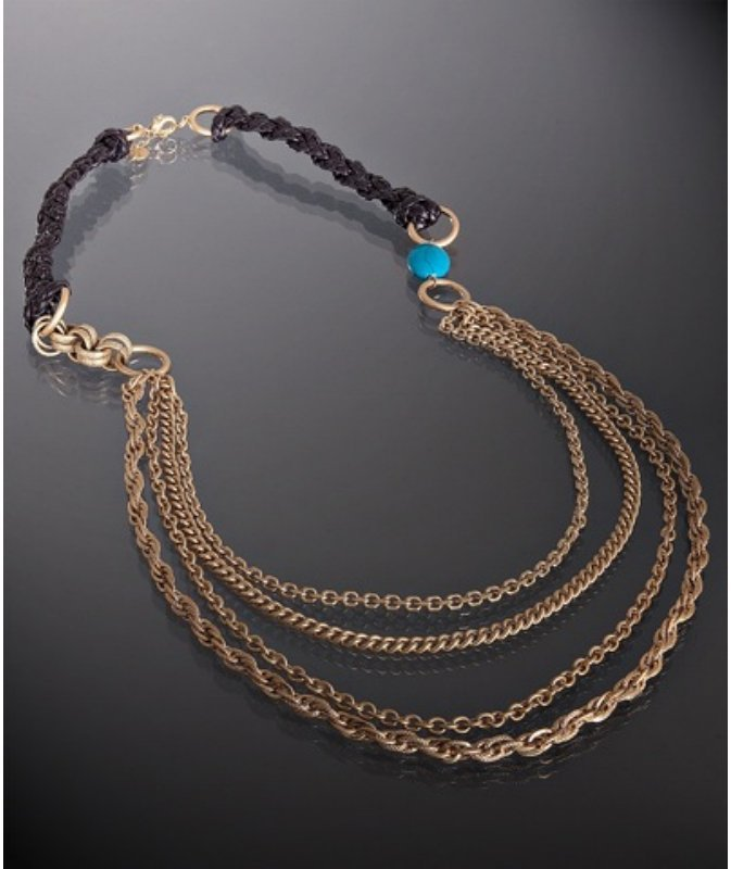 Danielle Stevens gold layered chain and braided leather necklace