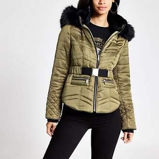 River Island Khaki faux fur hood padded jacket