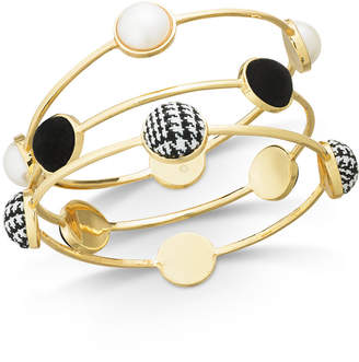 INC International Concepts I.N.C. Gold-Tone 3-Pc. Set Imitation Pearl & Fabric Bangle Bracelets, Created for Macy's