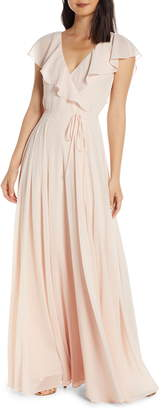 Jenny Yoo Faye Ruffle Wrap Chiffon Evening Dress