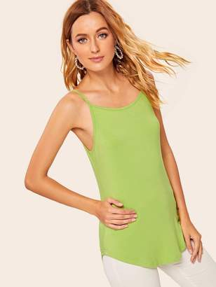 Shein Neon Lime Curved Hem Cami Top