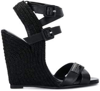 bc9debacac0 Black High Wedge Sandals For Women - ShopStyle UK
