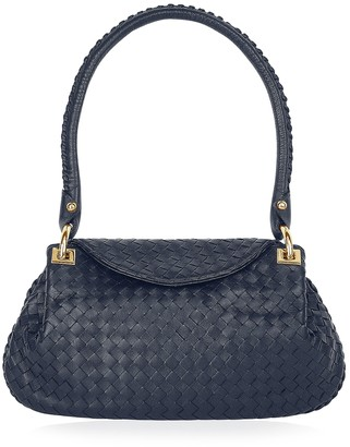 42547421228 Fontanelli Dark Blue Woven Italian Leather Flap Shoulder Bag
