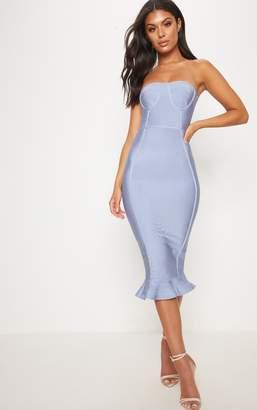 PrettyLittleThing Dusty Blue Bandage Frill Hem Midi Dress