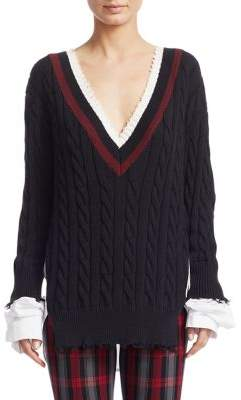 Alexander Wang Hybrid Varsity Knit Poplin Sweater