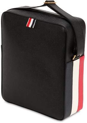 Thom Browne Stripes Pebbled Leather Messenger Bag
