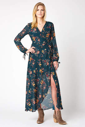 Band of Gypsies Jacey Floral Wrap Maxi Dress