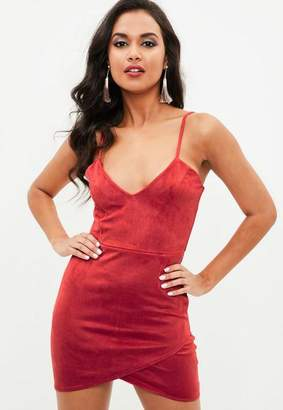 Missguided Petite Red Faux Suede Mini Dress