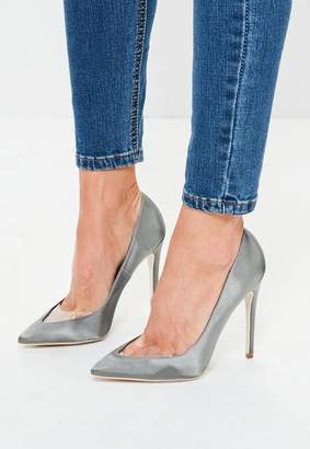 Missguided Gray Clear Toe Pointed Pumps