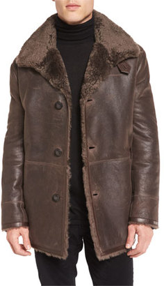 Vince Leather Shearling-Lined Coat, Brown $2,450 thestylecure.com