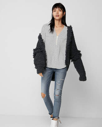Express Dot Long Sleeve Zip Front Blouse