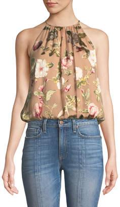 Alice + Olivia Rosa Floral-Print Silk Halter Top