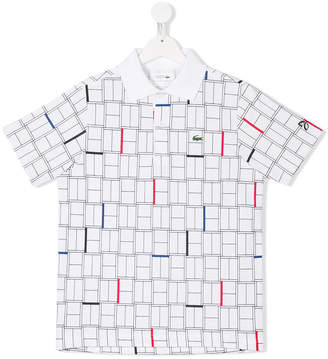 Lacoste Kids TEEN grid print polo shirt