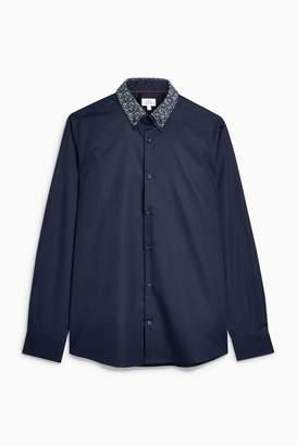 Next Mens Navy Long Sleeve Double Collar Shirt