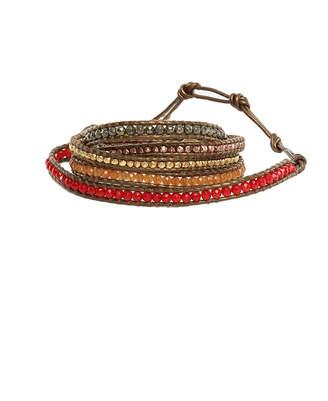 Chan Luu Multi Stone Mix Wrap Bracelet on Kansas Leather
