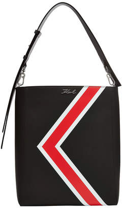 Karl Lagerfeld K/Stripes Leather Hobo