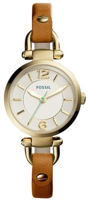Women's Fossil 'Georgia' Round Leather Strap Watch, 26Mm $115 thestylecure.com
