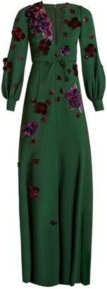 Andrew Gn Floral-appliqué crepe gown