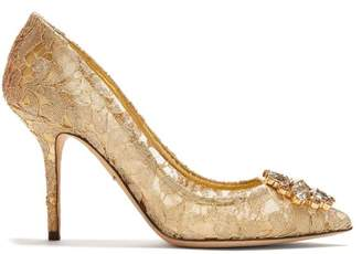 Dolce & Gabbana Bellucci Crystal Embellished Lace Pumps - Womens - Gold