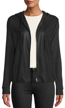 Neiman Marcus Majestic Paris for Leather-Front Zip-Front Hoodie