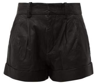 Etoile Isabel Marant Abot High Rise Washed Leather Shorts - Womens - Black