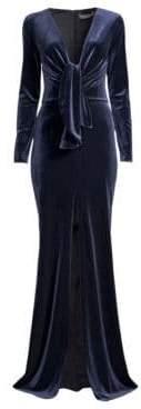Velvet Plunging Long Sleeve Gown