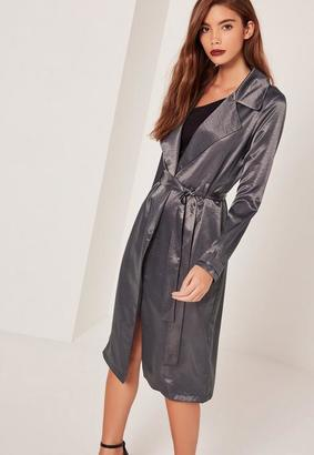 Satin Duster Coat Grey $77 thestylecure.com