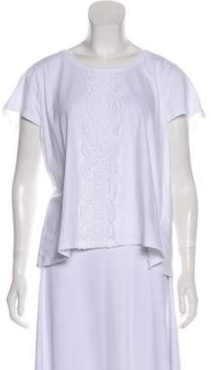 Burberry Scoop Nack Lace-Trimmed Top