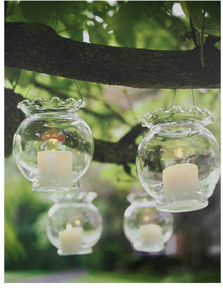 """Northlight Led Lighted Flickering Garden Party Hanging Glass Candles Canvas Wall Art, 15.75"""" x 12"""""""