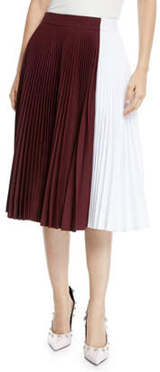 Calvin Klein Two-Tone Pleated Midi Circle Skirt