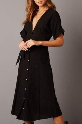 Cotton Candy Plunging Dolman-Sleeve Midi-Dress