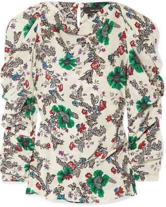Isabel Marant Crem Ruched Floral-print Silk-blend Crepe De Chine Blouse - Ecru