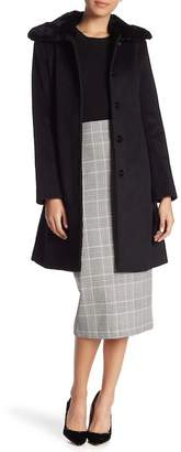Via Spiga Genuine Dyed Rabbit Fur Trim Wing Collar Belted Wool Blend Coat