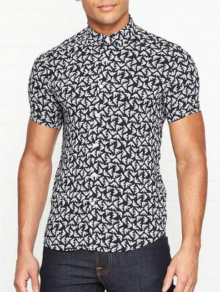 All Over Eagle Logo Printed Short Sleeve Shirt - Navy