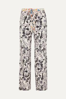 Stine Goya Aileen Floral-print Stretch Crepe De Chine Pants - Ivory