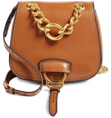 Miu MiuMiu Miu 'Dahlia' Goatskin Leather Saddle Bag - Brown
