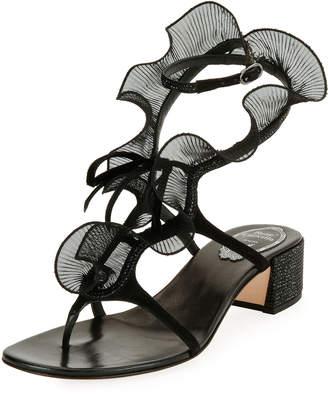 Rene Caovilla Ruffle Beaded Thong Sandal, Black/Multi