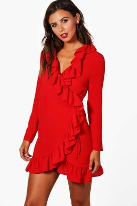 boohoo Petite Wrap Front Frill Woven Dress