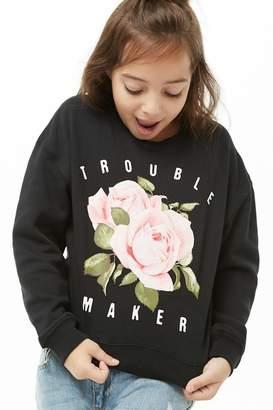 Forever 21 Girls Trouble Maker Graphic Sweatshirt (Kids)