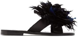 ÁLVARO Antoniona feather-trimmed leather sandals