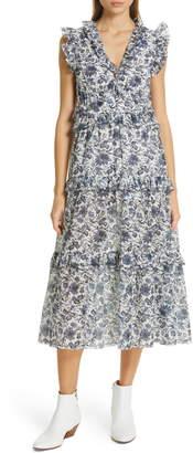 Robert Rodriguez Carmen Floral Print Cotton & Silk Dress