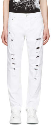 Alexander McQueen White Distressed Jeans
