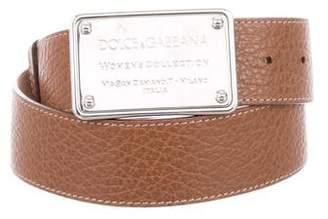 Dolce & Gabbana Pebble Leather Logo Belt