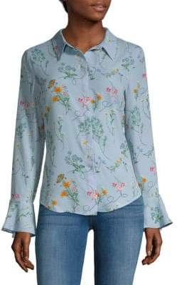 Sanctuary Bell-Sleeve Floral Button-Down Shirt