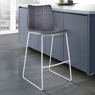 """Armen Living Hamilton 30"""" Bar Height Barstool in Brushed Stainless Steel with Vintage Grey Faux Leather"""