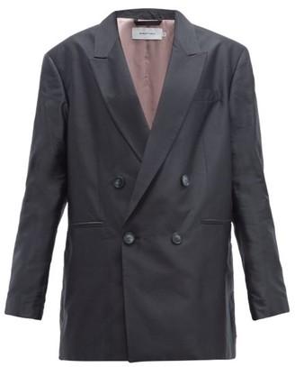 Marques Almeida Marques'almeida - Double Breasted Oversized Silk Blazer - Womens - Black
