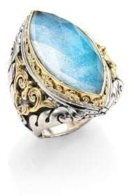 Konstantino Chrysocolla, Clear Quartz, Sterling Silver& 18K Yellow Gold Marquise Ring
