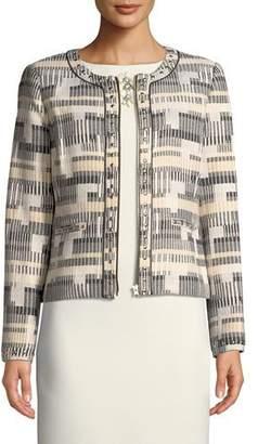Badgley Mischka Zip-Up Studded Long-Sleeve Jacket