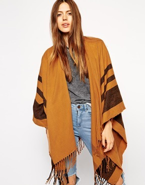 ASOS Stripe Blanket Cape - Tobacco